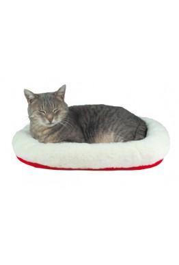 Katteseng oval hvit & rød