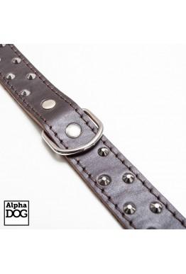 Dingo Lærhalsbånd med niter brun bred 70 cm