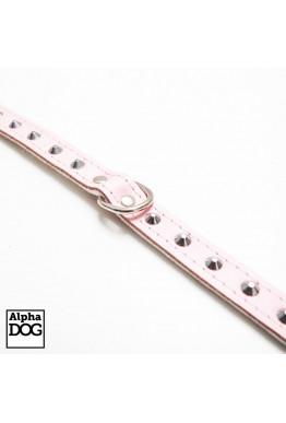 Lærhalsbånd med niter rosa 44cm